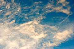 Thin clouds colored by the sun. With a blue sky background Royalty Free Stock Images