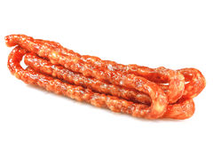Thin dry sausage. Royalty Free Stock Photo