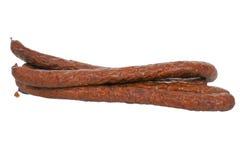 Thin dry-smoked pork sausage Stock Image