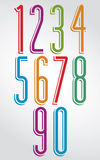 Thin elegant bright doodle rounded numbers with white outline. Royalty Free Stock Images