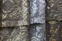The thin fabric for curtains for sale on the market. Thin fabric for curtains for sale on the market Royalty Free Stock Photography
