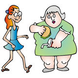 Thin and fat. Art illustration: the thin and the fat girl Stock Image
