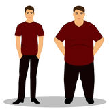 Thin and fat. Isolated objects. Thin and fat. Obesity. From thin to fat. Boy getting fat, gaining weight. Isolated objects. Vector illustration Stock Photography