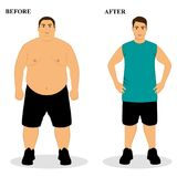 Thin and fat. Obesity. From fat to thin. Before and after. Healthy Lifestyle. The guy becomes thin. Isolated objects. Vector illustration Royalty Free Stock Images
