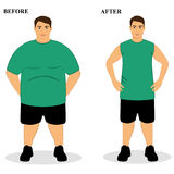 Thin and fat. Obesity. From fat to thin. Before and after. Healthy Lifestyle. The guy becomes thin. Isolated objects. Vector illustration Stock Photography