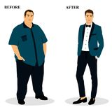 Thin and fat. Obesity. From fat to thin. Before and after. Healthy Lifestyle. The man becomes thin. Isolated objects. Vector illustration Stock Photo