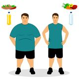 Thin and fat. Proper nutrition. From fat to thin. Before and after. Healthy Lifestyle. The guy becomes thin. Isolated objects. Vector illustration Royalty Free Stock Photo