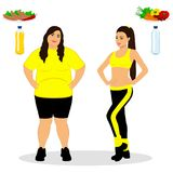 Thin and fat. Proper nutrition. From fat to thin. Before and after. Healthy Lifestyle. The woman becomes thin. Isolated objects. Vector illustration Royalty Free Stock Images