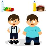 Thin and fat. Proper nutrition. From fat to thin. Before and after. Healthy Lifestyle. The boy becomes thin.  objects. Vector illustration.r Royalty Free Stock Photo