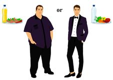 Thin and fat. Proper nutrition. From fat to thin. Before and after. Healthy Lifestyle. The man becomes thin. Isolated objects. Vector illustration Stock Images