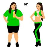 Thin and fat. Proper nutrition. From fat to thin. Before and after. The choice. Healthy Lifestyle. The woman becomes thin. Isolated objects. Vector Royalty Free Stock Photo
