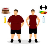 Thin and fat. Proper nutrition. From fat to thin. Before and after. Healthy Lifestyle. The guy becomes thin. Isolated objects. Vector illustration Royalty Free Stock Images