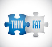 Thin and fat puzzle pieces sign illustration Royalty Free Stock Photos
