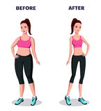 Thin and fat woman. Before and after weight loss. Thin and fat woman.  Before and after weight loss. Vector illustration Royalty Free Stock Photos
