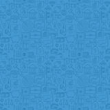 Thin Finance Line Money Banking Seamless Blue Pattern Stock Images
