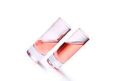 Thin glasses with pink liquid Royalty Free Stock Image