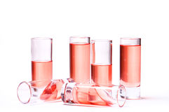 Thin glasses with pink liquid Royalty Free Stock Photos