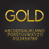 Thin Gold Font and Numbers. Eps 10 Vector Stock Image