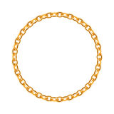 Thin golden chain - round frame. Stock Photography