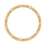 Thin golden chain - round frame. Stock Images