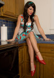 Thin, Gorgeous Woman on Counter. An image of a pretty young woman with long legs, sitting on a kitchen counter in a dress and high heels Stock Photo