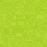 Thin Green Gadgets and Devices Line Seamless Pattern Stock Images