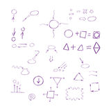 Thin hand drawn arrows, talk bubble, geometric shapes Royalty Free Stock Images