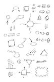 Thin hand drawn arrows, talk bubble, geometric shapes  Stock Images