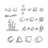 Thin hand drawn arrows, talk bubble, geometric shapes Royalty Free Stock Photography