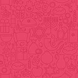 Thin Happy Hanukkah Line Holiday Seamless Pink Pattern Stock Photo