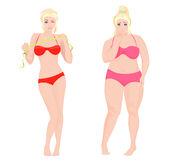 Thin Health and Fat woman. Lifestyle infographic vector illustration. Stock Photography