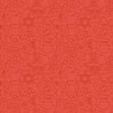 Thin Holiday Line Jewish New Year Red Seamless Pattern Royalty Free Stock Images