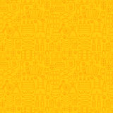 Thin Holiday Line Oktoberfest Yellow Seamless Pattern Royalty Free Stock Images