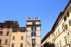 Thin houses. Old thin houses on Piazza della Rotonda with blue sky above in Rome, Italy Stock Photo