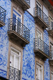 Thin houses in old town, Porto, Portugal Royalty Free Stock Images