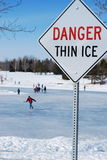 Thin Ice. Skating on thin ice, Alberta, Canada stock photos