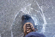 Thin ice cracked Stock Photography