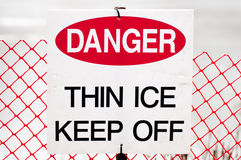 Thin Ice Danger Sign Royalty Free Stock Photography