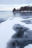 Thin ice at lake Stock Image
