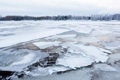 Thin ice at lake Royalty Free Stock Photos