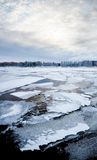 Thin ice on a lake at sunrise Stock Images