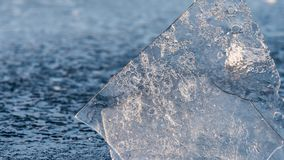 The thin ice on the river Spree in Berlin royalty free stock photo