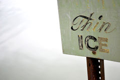 Thin Ice sign Royalty Free Stock Photography