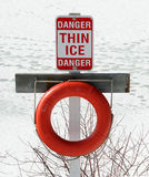 Thin Ice Sign. With a red life preserver stock photos