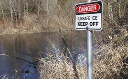 Thin Ice Signage Stock Image