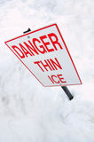Thin Ice warning sign Royalty Free Stock Photography