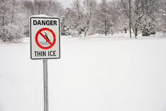 Thin Ice Warning Sign Stock Images