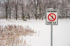 Thin Ice Warning Sign Royalty Free Stock Image
