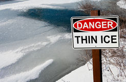Thin Ice Warning Sign Stock Photos