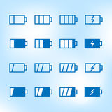 Thin Icon Set. Battery Charge Level Stock Photo